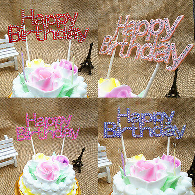 Strass Happy Birthday Cake Topper Kristall Geburtstag Party Blumen Pick 15cm RA