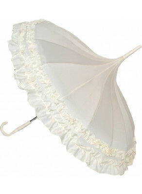 Blooming Brollies Boutique Classic Frilled Pagoda Stick Umbrella - Pale Beige