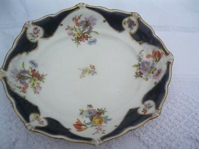 Crown Staffordshire 11 in oval cobalt blue/white / flower painted / gilded fruit
