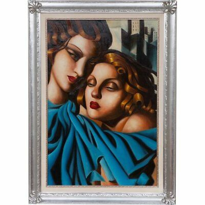 Painting Nice to Oil on Canvas Frame Wood Silver Tamara of Lempicka 110 x 80