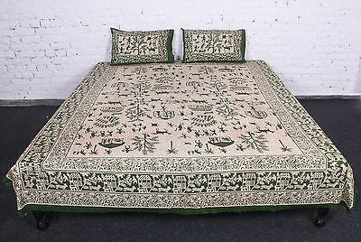 100% Cotton 3 Pc Indian Hand Made Hand Block Printed With Pillow Case Bed Cover