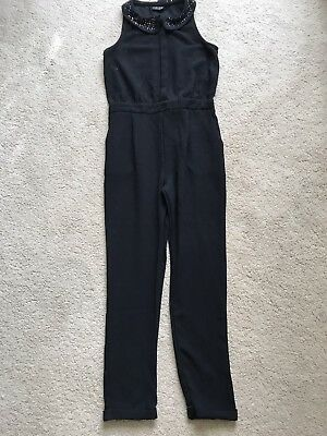 Next All In One Girls Black Sparkly Catsuit / Jumpsuit - Age 12