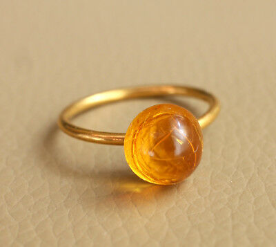 Antique Vintage Gold Plated Honey Natural Baltic Round Amber Ring Size 6.5 US