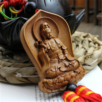Jujube Wood Carved Red Chinese Knot Kwan Yin Statue Sculpture Car Pendant Hanger