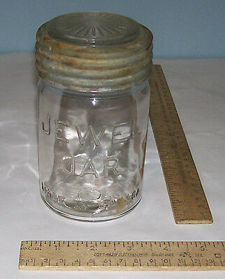 JEWEL JAR - Vintage GLASS CANNING JAR - with lid - MADE IN CANADA - Damaged