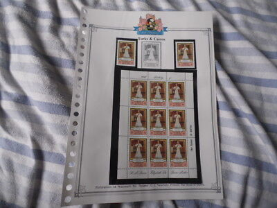 nickstampshop ~~ Turks & Caicos ~ Queen Mother's 80th ~ MNH Sheetlet & Stamps