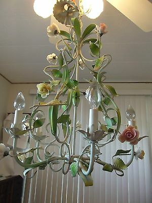 Beautiful Italian Tole Chandelier - Porcelain Roses~Local Pickup Only