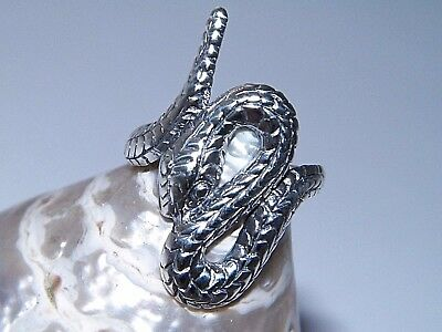 Handcrafted Oxidized.925 Sterling Silver Rattle Snake Coiled Twisted Viper Ring