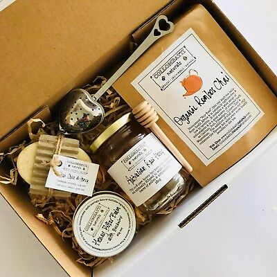Chai Lovers Christmas Gift Box Hamper-Australian Loose Leaf Tea-Honey-Balm-Soap!