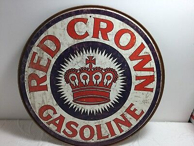 New Vintage Style Distressed Red Crown Gas Gasoline Oil Round Tin Metal Ad Sign
