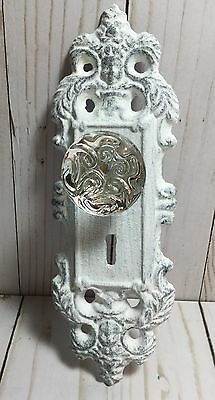 Cast Iron & Glass Crystal Door Plate/Hook Fleur De Lis White French Cntry