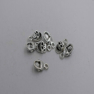 20pcs Antique silver plated little nice lovely skull charm pendant T0090