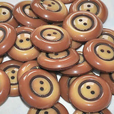 lot de 5 boutons ronds plastique marron en dégradé 28mm button