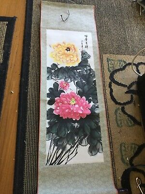 Original Vintage HANDPAINTED Oriental Scroll 95cm x 39cm undamaged