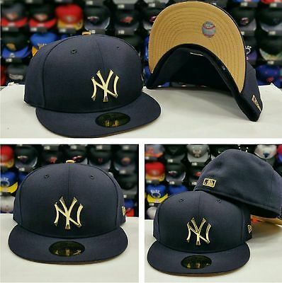 e57fe985e34 Exclusive New Era MLB Navy New York Yankee Gold Metal Badge Logo 5950  fitted hat