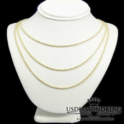 """1/10th 10k Yellow Gold Hollow Rope 2mm Diamond Cut Necklace Chain(16~30"""") New"""