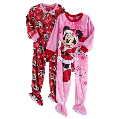4d1953a746 MINNIE MOUSE 2T 3T 4T Toddler Girls FOOTED PAJAMAS Blanket Sleeper  Christmas NEW