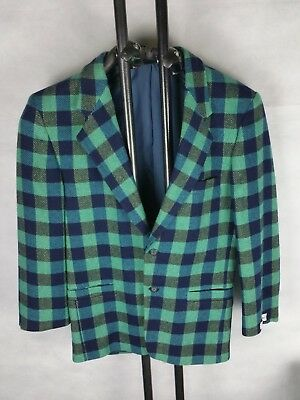 Tolles Herren Vintage Woll Sakko grün DRESS MASTER mens retro jacket green 46 XS