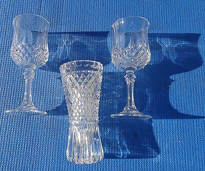 Wine Glasses Set 2 French Cristal D' Arques Longchamp Crystal with Flower Vase