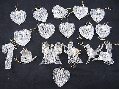 Vintage Glass Hand Blown Spun Ornaments Glass Crystal with Gold Trim 17 in Lot