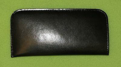 Black new glasses case, soft spectacle, pouch, leather look, large, gift (H1)