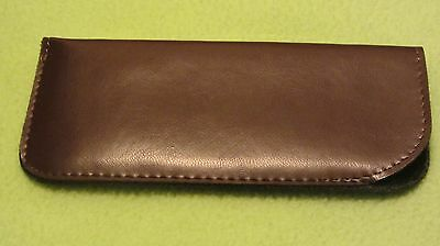 Dark brown glasses case, soft spectacle, pouch, leather look, medium, gift (J1)