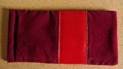 Red glasses case, soft spectacle, velvet leather look, spring close, Xmas (M2)