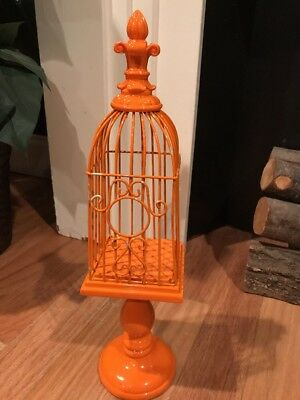 Vintage Orange Metal Decorative Dome Top Bird Cage