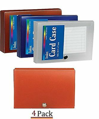 """1InTheOffice Index Card Case, 3"""" x 5"""" Index Card Holder, Assorted Colors """"4"""