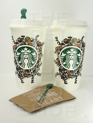 2 Starbucks Reusable Fall Harvest Coffee Tea Recyclable Plastic Cup New