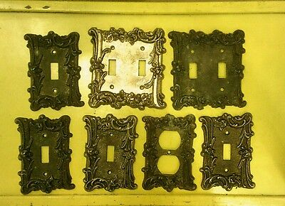 Lot of 7 Vintage EDMAR Metal Switch Plate Outlet Covers Ornate Rose, NO SCREWS