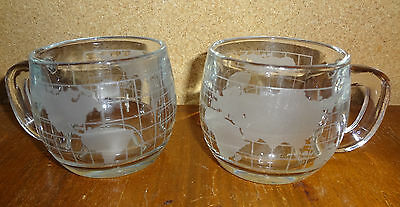 Set of 2 Vintage Nescafe World Map Clear Glass Coffee Mugs