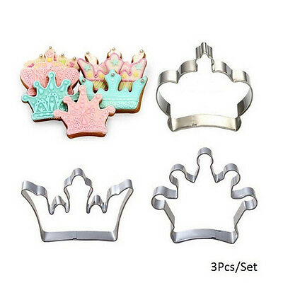 3 Princess Crown King Queen Party Cookie Cutter Cake Biscuit Baking Tool Mold LJ