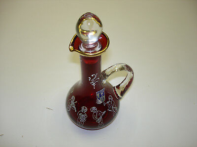Old Vintage Bohemian Czech Republic Ruby Red Trimmed in Gold Cruet Never Used #1