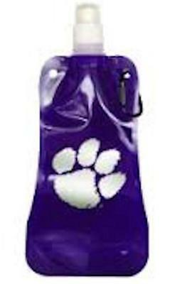 NCAA Licensed 16 Oz. Clemson Tigers Foldable Screw Top Water Bottle with Carabin