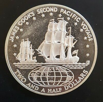 1973 Cook Islands. 2 1/2 Dollars..  Silver - PROOF.....
