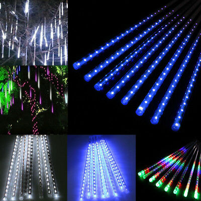 30/50cm 144/240 LED Meteor Shower Rain Snowfall 8 Tubes String Light Xmas Decor