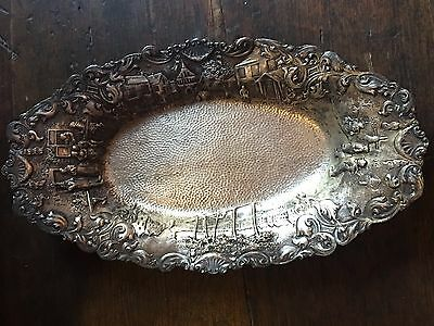 Antique Barbour Silver Silverplate Repousse Silver Dutch Tray Serving Dish