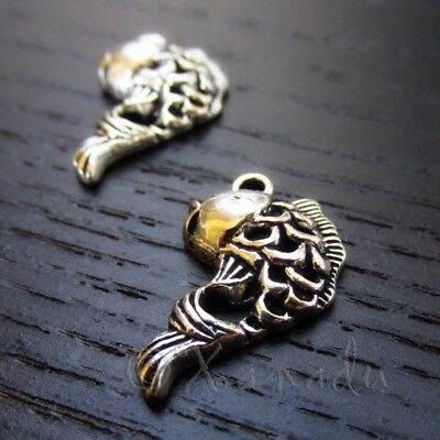 Happy Cat Charms 20mm Antiqued Silver Plated Pendants SC0033910-10//20//40PCs