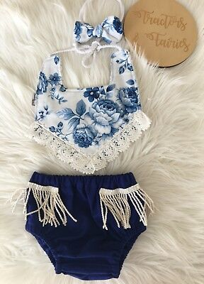 Baby set Boho Bib Nappy Cover nylon headband in blue Rose by Tractors & Fairies