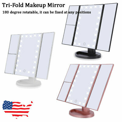 Tri-fold LED 2x3x10x Lighted Vanity Makeup Mirror Touch Screen Tabletop--US SHIP