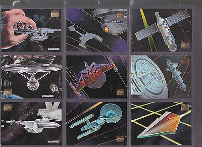 Set Of Star Trek Assorted Space Ships Skybox Trading Cards Lot 1 Tv Movie Sci-Fi