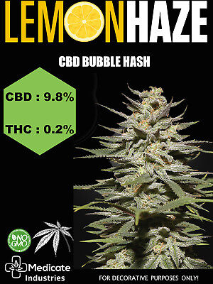 Cbd Bubble Hash - 9.8% Cbd / 0.2% Thc (Food Supplement) Lemon Haze