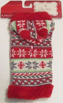 NWT Target Unisex Red, Green and White Holiday Dog Sweater with Hood Size XXS