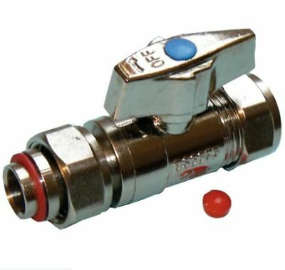 15mm Straight Chrome Service Valve with Butterfly Handle - PACK OF 2