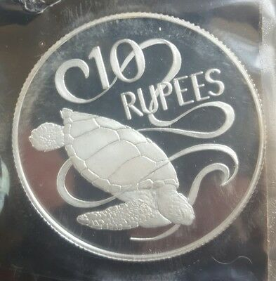 1974 Seychelles 10 Rupees Silver Cameo Proof in Mint Seal....