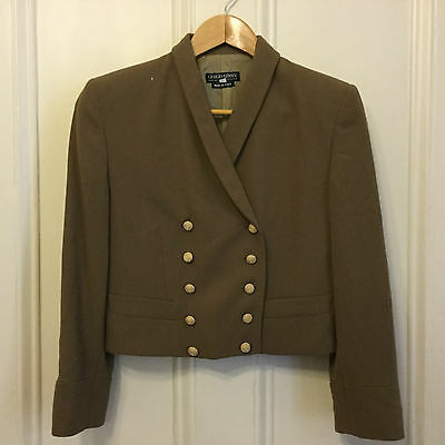 Giorgio Armani wool rolled collar taupe double breasted cropped jacket size 38