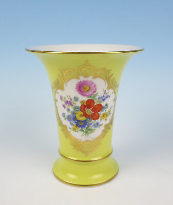 Meissen Hand Painted Flowers on Yellow Ground 1st Quality Porcelain Vase German
