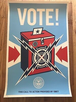Shepard Fairey OBEY GIANT - VOTE! OBAMA - SIGNED Edition of 350 Screen Print