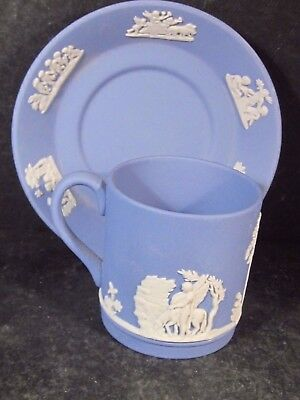 Wedgwood Jasperware White On Blue 2pc DEMITASSE CUP AND SAUCER Sacrifice Figures